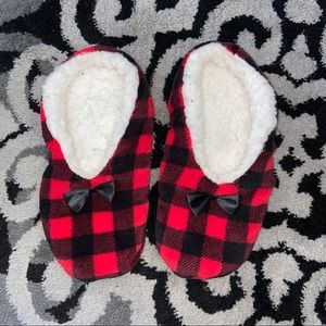 Shoes - Buffalo Plaid Slippers Red Black